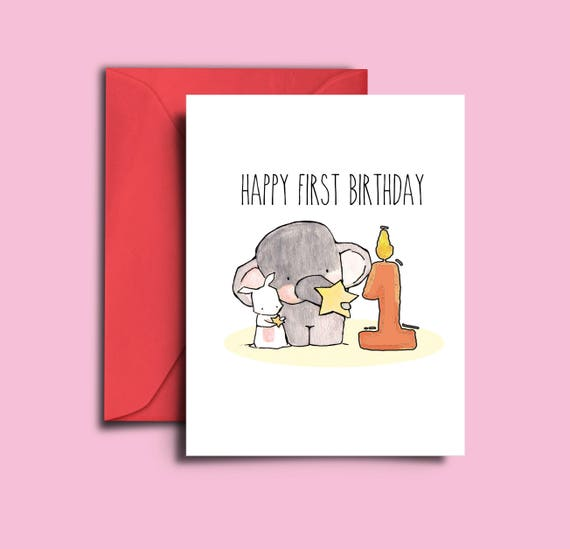 Baby First Birthday Card 1 Year Old Girl 1st
