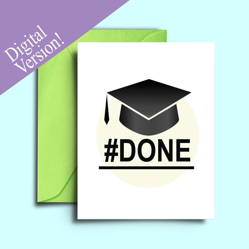 photograph relating to Graduation Card Printable named Uncomplicated Higher education Commencement Card Printable Obtain - Minimalist Enjoyable Congrats Card for Commencement Social gathering - #Carried out