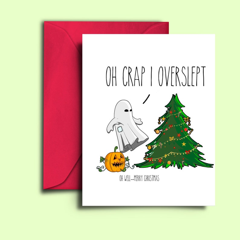 Funny Christmas Card For Halloween Lover Blank A5 Card Oh image 0