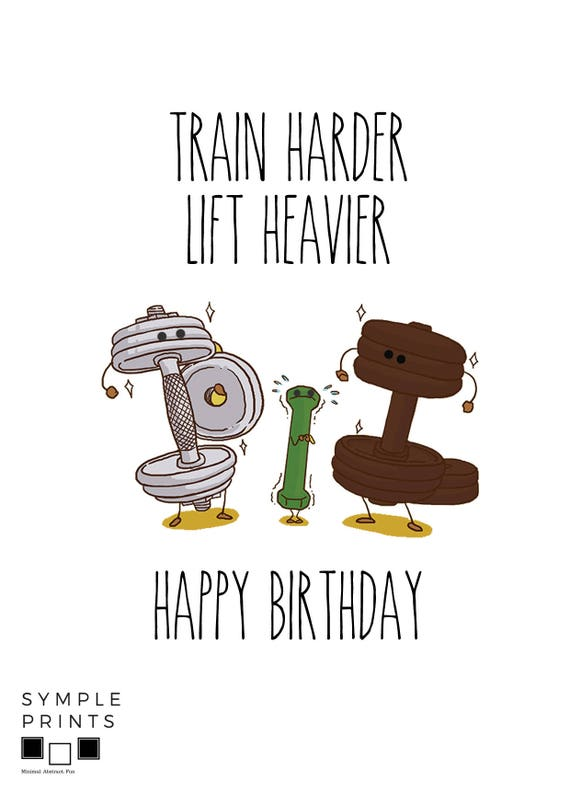 Printable Crossfit Birthday Card For Workout Fitness Etsy