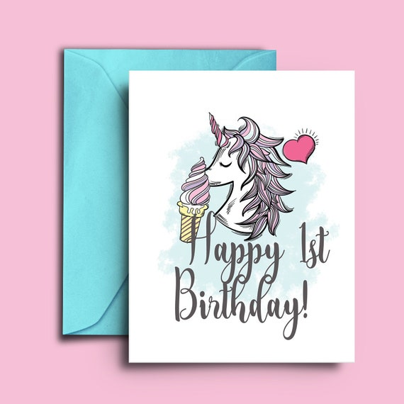 Unicorn And Ice Cream One Year Old Birthday Blank Card For