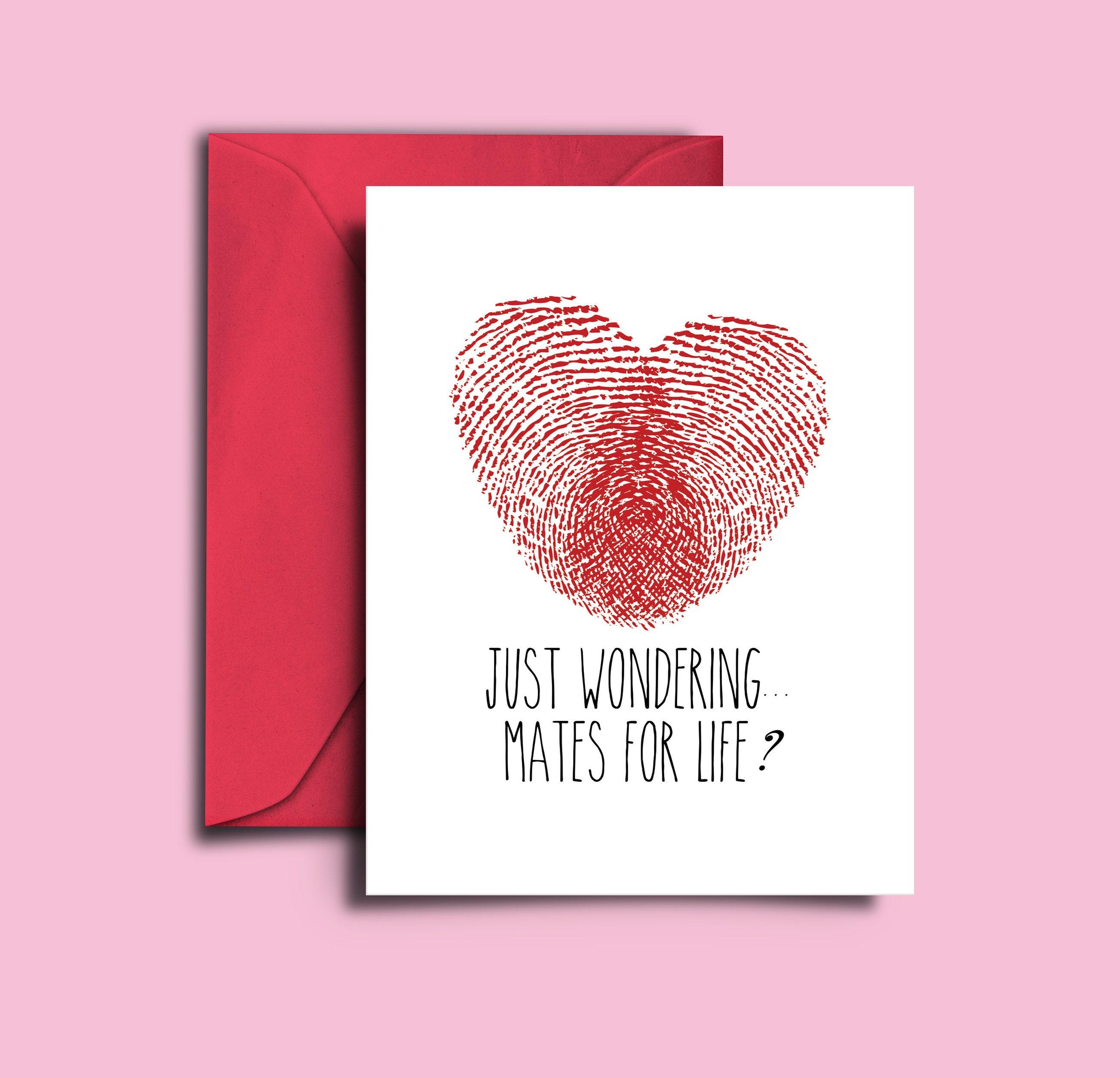 Funny Proposal Card Fingerprint Card Mates for Life Card | Etsy