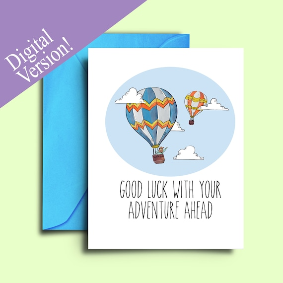 picture regarding Printable Good Luck Cards identify Farewell Card for Pals Warm Air Balloon Printable Terrific Luck Playing cards Colleague Co-employees Going Absent Transferring Absent Leaving Undertaking Bon Voyage Card