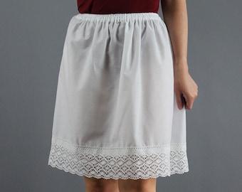 Vintage Ivory Cotton Plain Petticoat Under Skirt