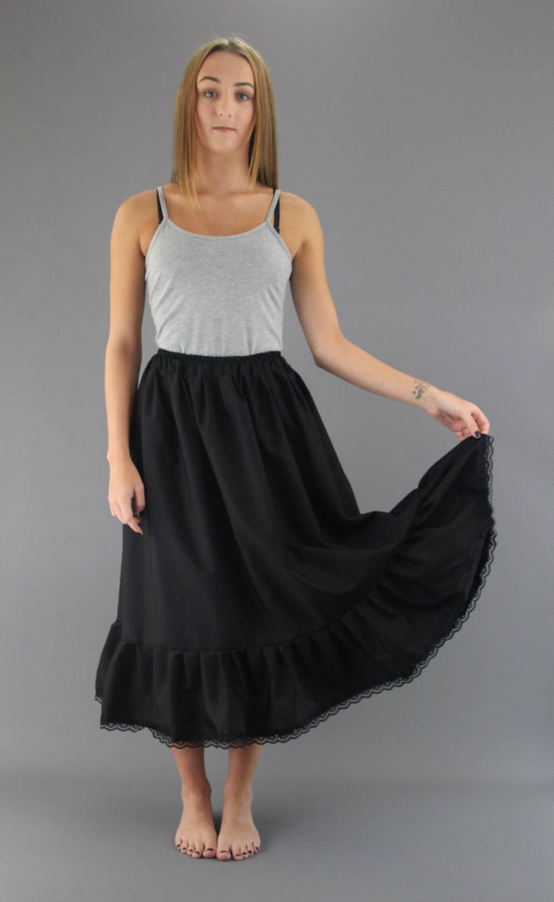 Edwardian Lingerie 1900-1910s Black Cotton Petticoat Plain Edged Lace Edged or Broderie Anglaise Choose Length + Waist $18.77 AT vintagedancer.com