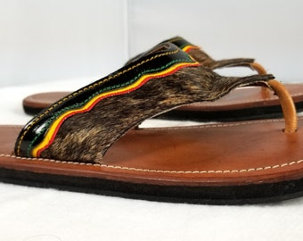 030ecd0d73df Women s Colombian Brown Carriel Flats Sandal Handmade Cow Hide Hair Leather  Sz 7 - Pre-Owned