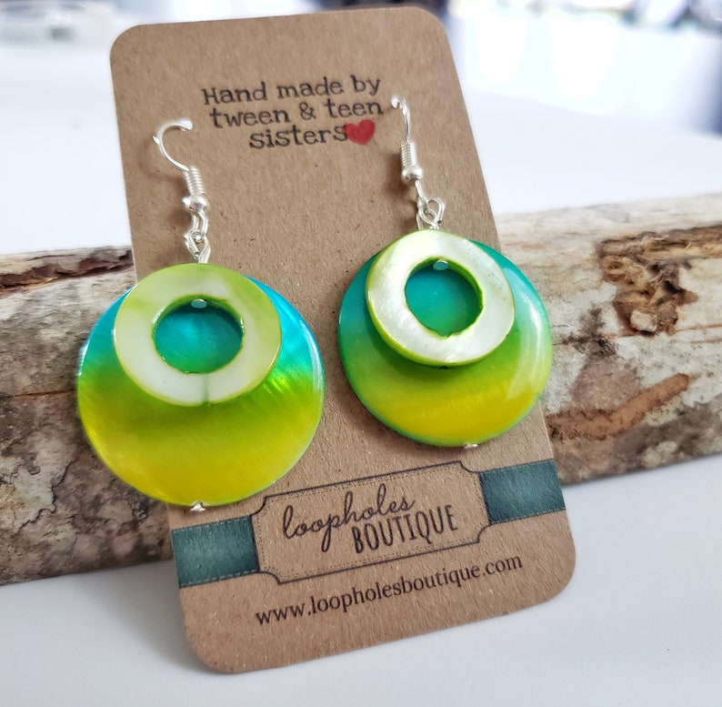 Unique overlapping bead earrings pierced green and yellow image 0