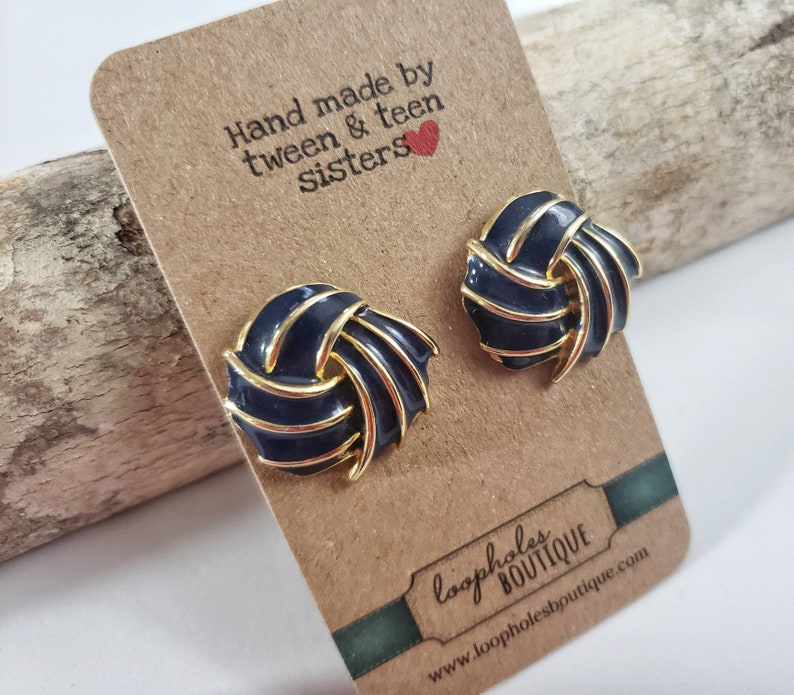 Vintage 80s Glam Earrings Rad Retro Navy and Brass Gold image 0