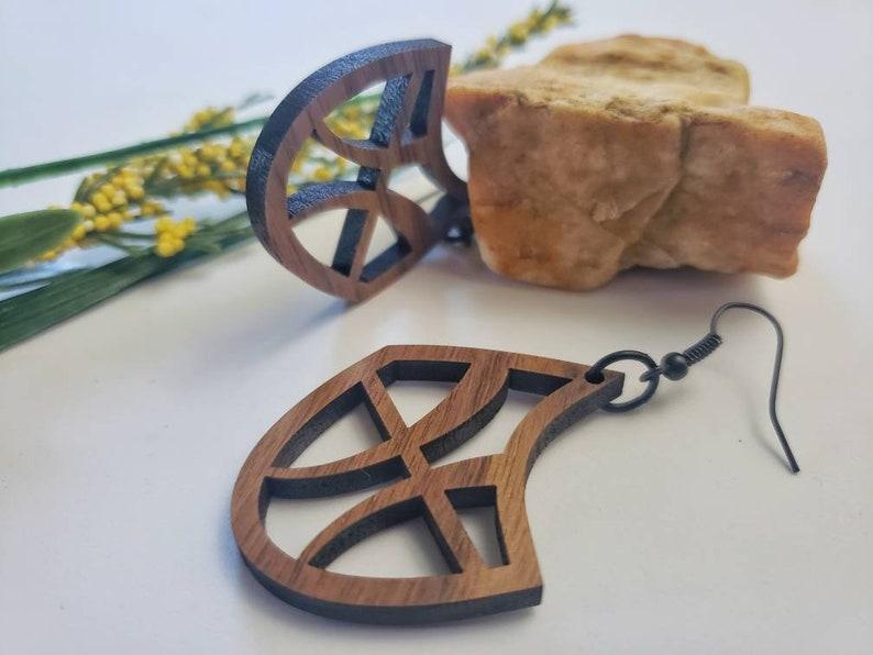 AMAZING laser cut wood zodiac earrings Beautiful Pisces image 0