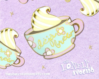 Deja brew gold plated enamel pin   Floral mug   First the coffee, then the things   Pastel color birthday gift   Whipped cream   starbucks