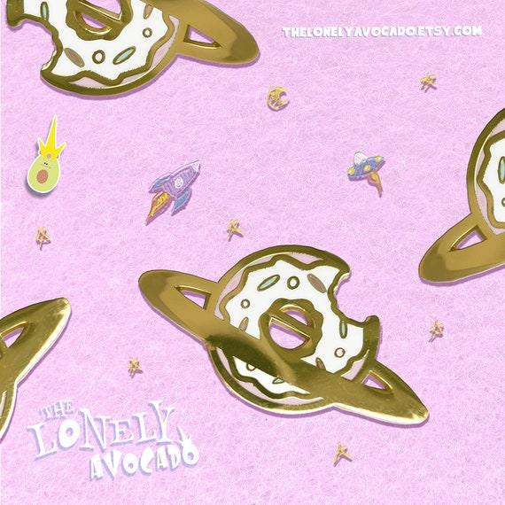 Donut saturn gold plated enamel pin   Planet galaxy   Dessert pin   Funny  gift   Aliens space ufo   Sprinkles   Colorful accessories
