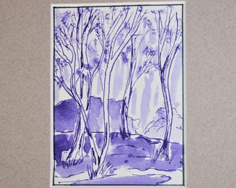 ACEO original artwork in ink on art paper. Mounted on quality art mat ready to be framed 5 x 7.
