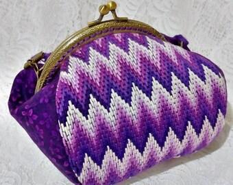Evening Embroidery Kisslock Bag Clasp Frame Bag Shoulder Bag Purple Purse Gradient Vintage Bag