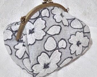 Woolen Kisslock Bag Clasp Frame Bag Shoulder Bag Embroidery Purse