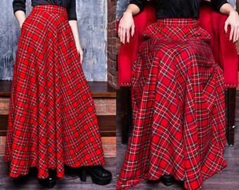 Red Plaid Maxi Skirt, Tartan Long Woman Skirt, Maxi Skirt with pockets, Red Long Skirt