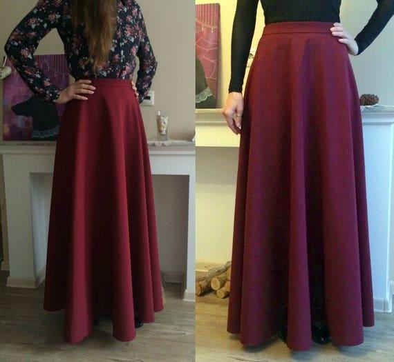 349be1b05 Burgundy Maxi Skirt Flared Long Woman Skirt Maxi Skirt with | Etsy