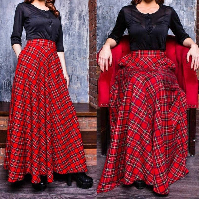 3d8ab5098f Red Plaid Maxi Skirt Tartan Long Woman Skirt Maxi Skirt with | Etsy