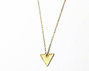 Matte gold triangle necklace