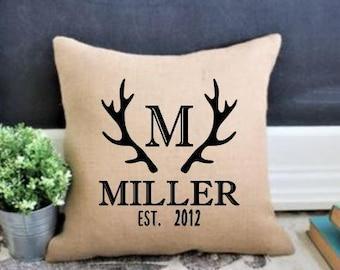 Deer Antler, Antler Monogram, Woodland Decor, Woodland Deer, Antler Pillow, Deer Head, Rustic Deer Pillow, Gift for Hunter, Gift for Dad