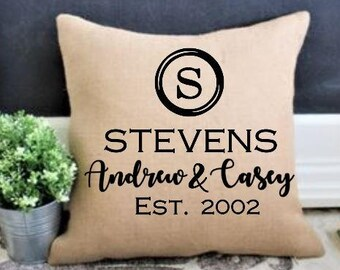 Personalized wedding gift, Gift for Couples, 2nd anniversary  Wedding date pillow cover, Mr & Mrs Gift Engagement Gift, Personlized wedding