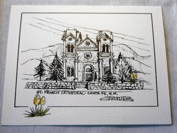 Christmas Holiday cards Traditional Santa Fe adobe house,FREE SHIPPING!