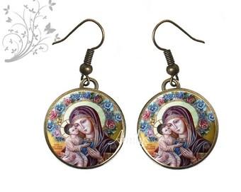 Earrings Virgin religious theme, communion, new