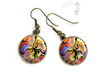 Images burst of color, evening jewelry, colorful earrings Colorful earrings color burst images, evening jewelry