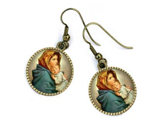 Religious theme, communion, mother and child, Virgin earrings