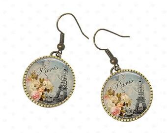 Eiffel Tower Paris vintage elegant earrings, boho jewelry