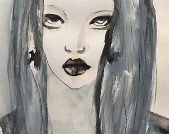 Acrylic Painting, Black And White Art, Watercolor Portrait, Woman Portrait, Original Watercolor Painting, Original Art, Mixed Media Art
