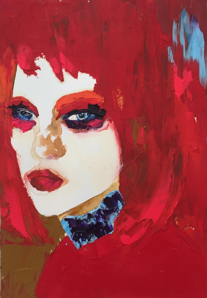 Modern Art Woman Portrait Original Art Original Oil Painting Watercolor Portrait Acrylic Painting Mixed Media Art Watercolor Painting
