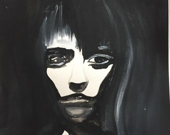 Mixed Media Art, Watercolor Painting, Acrylic Painting, Black And White Wall Art, Watercolor Portrait, Original Art, Dark Art, Gothic Art