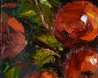Red Apples. Still Life. Original Oil Painting. 5x5x1.5 in