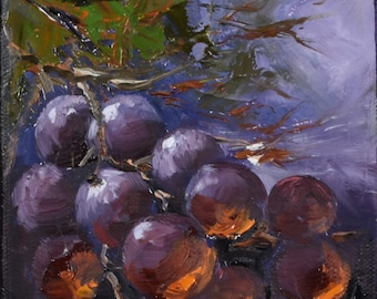 Grapes. Original oil painting. Oil on canvas.