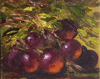 Globe grapes. Original Oil Painting. Oil on Canvas.