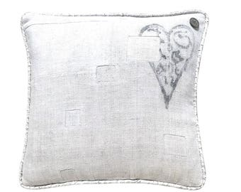 """Antique German Grain Sack Pillow from the 1800s  -  17"""" x 17"""""""