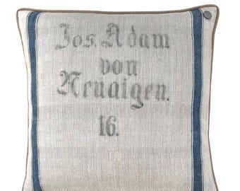 "Antique Austrian Grain Sack Pillow from the 1800s  -  24"" x 24"""