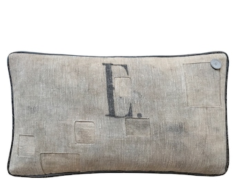"Antique German Grain Sack Pillow from 1903 - 19"" x 11"""