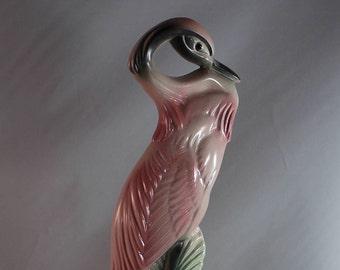 Impressive Vintage Pink Flamingo Ceramic Figural Bird