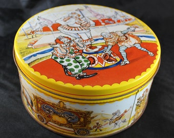 Circus Themed Round Tin Storage Container, Vintage Tin Box with Clown Train, Animals and Acrobats, Rare