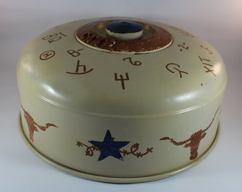 Vintage 1950s Kromex Western Folk Art Texas Hand Painted Cake Plate Top with Texas Star and Longhorn Design Needs a Bunkhouse : vintage cake plate - pezcame.com
