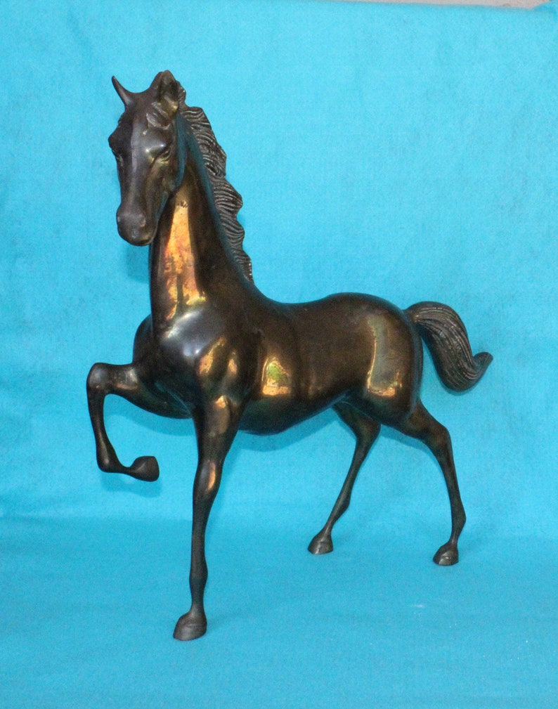 Mid Century Very Large Cast Brass Horse Gelding Stallion Mare Figure  Statue, Eye Catching