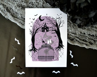 Haunted Graveyard Walk  Art Print