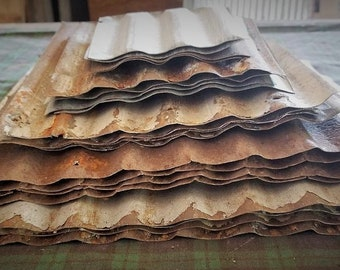 SALE ! 20 pieces of VARYING  SIZES  Cut From Vintage Reclaimed Corrugated Rustic Metal Tin Roofing