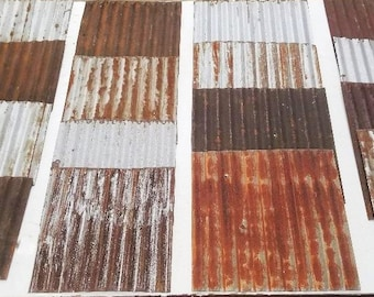 20 pcs. of VARYING SIZES CUT From Vintage Reclaimed Corrugated Rustic Metal Roofing Tiles