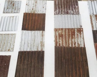 20 pieces of VARYING SIZES CUT From Vintage Reclaimed Corrugated Rustic Metal Roofing Tiles