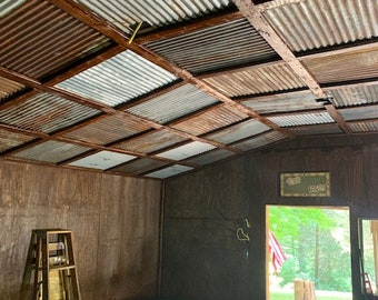 10 pieces of Antique Drop Ceiling Tiles Reclaimed from Vintage Corrugated Metal Barn Tin
