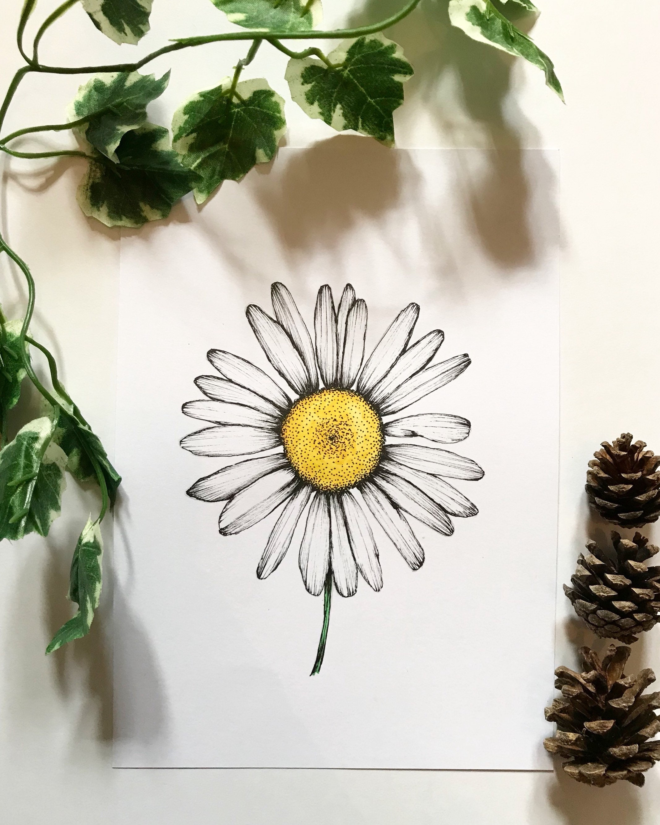 Personalised Daisy Chain Watercolour Print Unframed