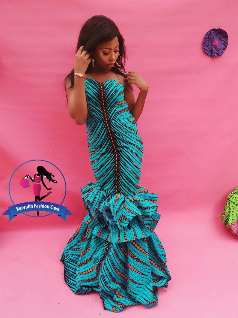 Prom Dress African Wedding Dress Ankara Dress African Clothing For Women African Mermaid Dress Floor Length African Dress Wedding Guest Dres