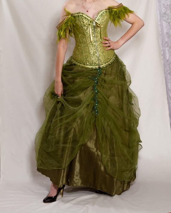 festival steampunk alternative Green bespoke vintage wedding Edwardian dress dress nancy theatrical dress boho wedding corset qfBwOf4r